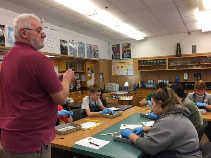 Dissection with Life Science mentor David Wilkens
